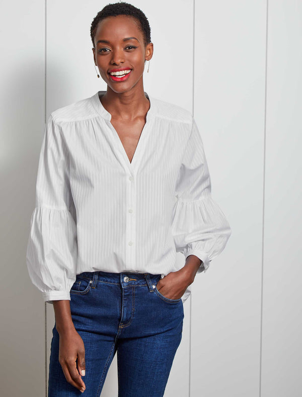 Ella V-Neck Cotton Gathered Blouson Sleeve Shirt - White Stripe
