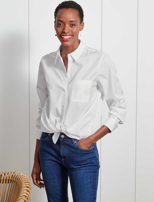Skyla Cotton Long Sleeve Shirt - White Stripe
