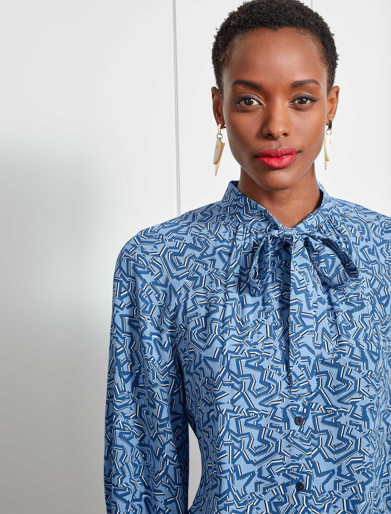 Daria Silk Pussy-Bow Raglan Shirt - Cornflower Blue Shattered Glass Print