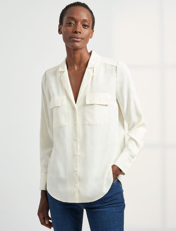 Spencer Long Sleeve V Neck Pocket Detail Shirt - Cream Camo Jacquard