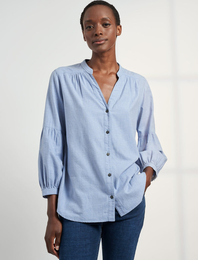 Ella V Neck Gathered Blouson Sleeve Shirt - Cornflower Blue