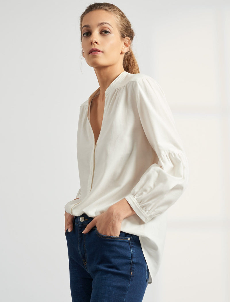 Ella V Neck Gathered Blouson Sleeve Shirt - Cream