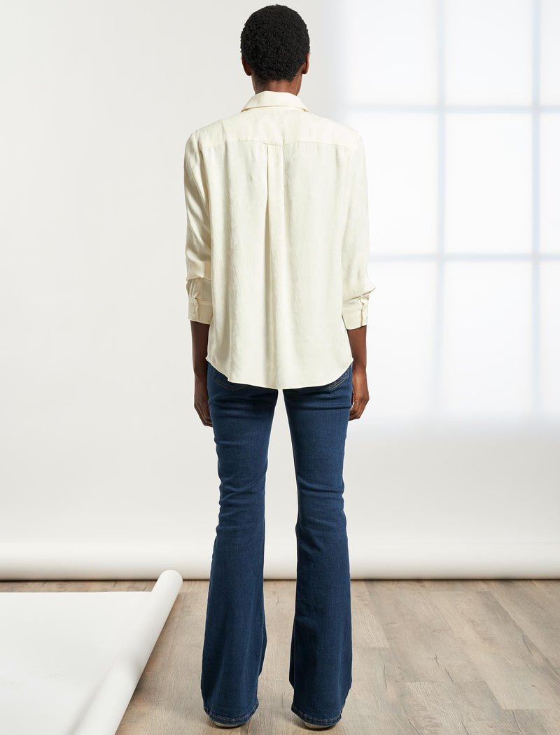 Skyla Long Sleeve Shirt - Cream Camo Jacquard