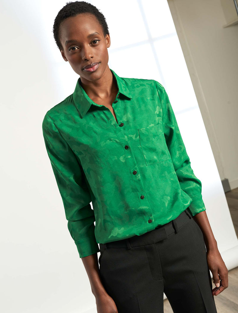 Skyla Long Sleeve Shirt - Emerald Green Camo Jacquard