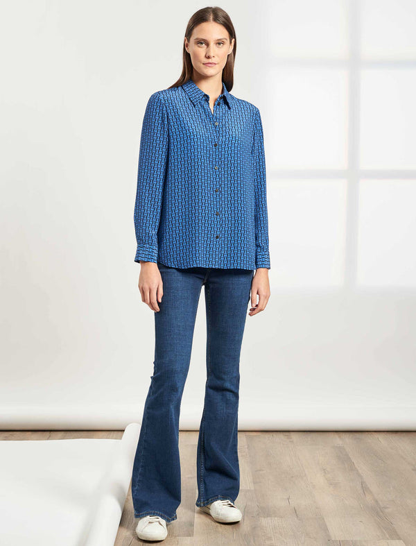 Skyla Long Sleeve Silk Shirt - Cornflower Blue Circle Geo