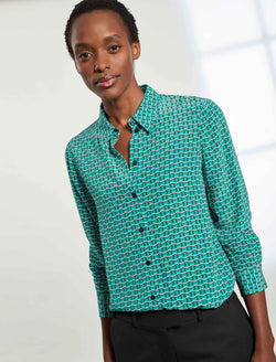 Skyla Long Sleeve Silk Shirt - Mint Green Circle Geo