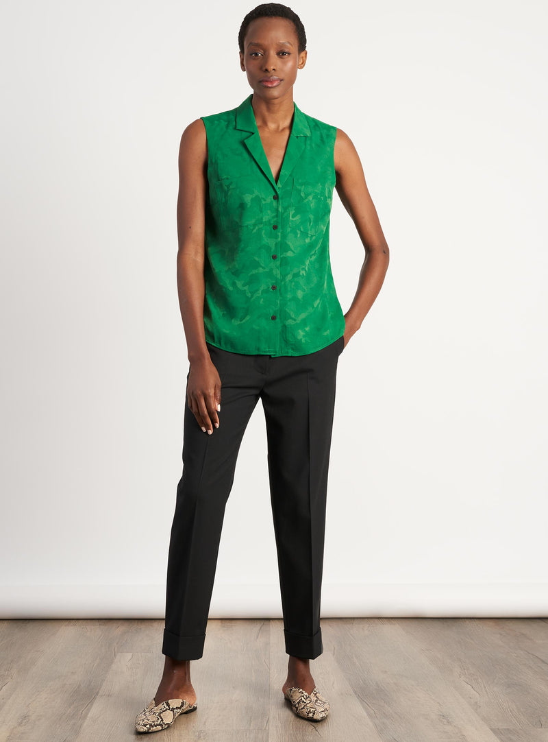 Spencer Sleeveless V-Neck Collared Shirt - Emerald Green Camo Jacquard