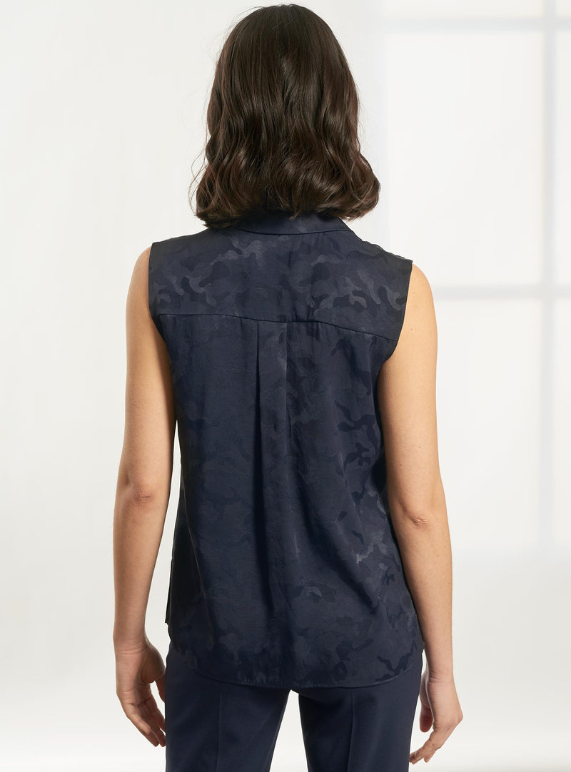 Spencer Sleeveless V-Neck Collared Shirt - Navy Camo Jacquard