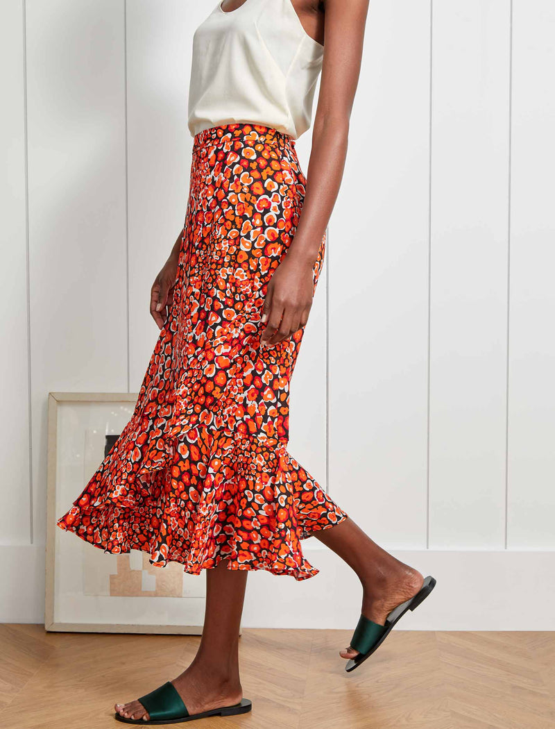 Maria Ruffle Hem Maxi Skirt - Burnt Orange Leopard Pansy