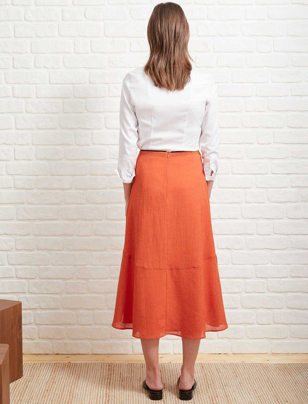Annabelle A-Line Panelled Skirt - Burnt Orange