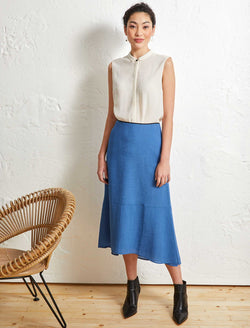 Annabelle A-Line Panelled Skirt - Cornflower Blue