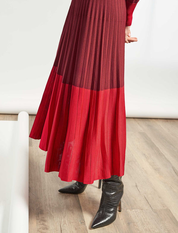 Colette Pleated Knit Midi Skirt With Contrast Hem - Crimson/Rust