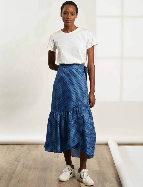 Lola Maxi Wrap Skirt with Frill - Cornflower Blue Circle Geo Print