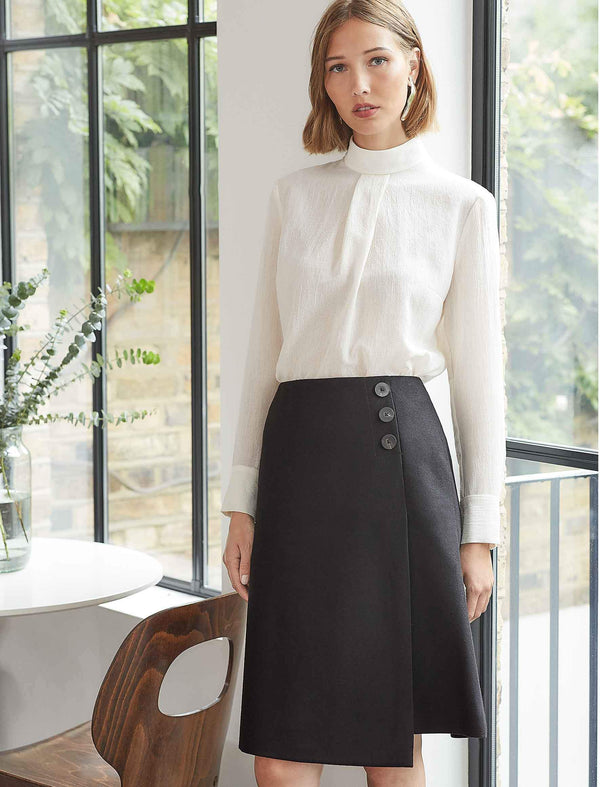 Audrey Felted Wool A-Line Skirt - Black