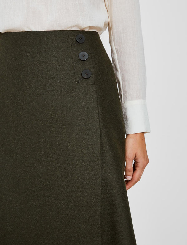 Audrey Felted Wool A-Line Skirt - Dark Khaki