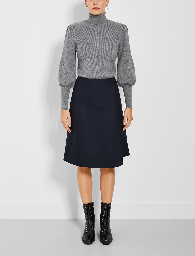 Audrey Felted Wool A-Line Skirt - Navy