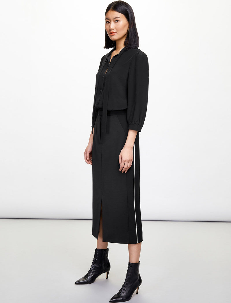 Sadie Contrast Panel Pencil Skirt - Black