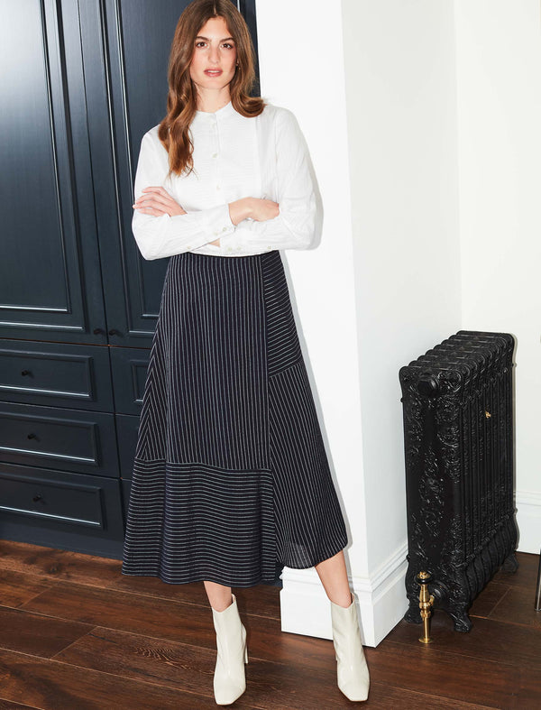 Alix Panelled Asymmetric Maxi Skirt - Navy/White Pinstripe
