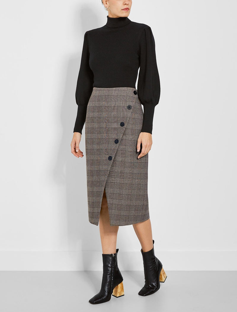 Selby Asymmetric Button Detail Pencil Skirt - Brown Check