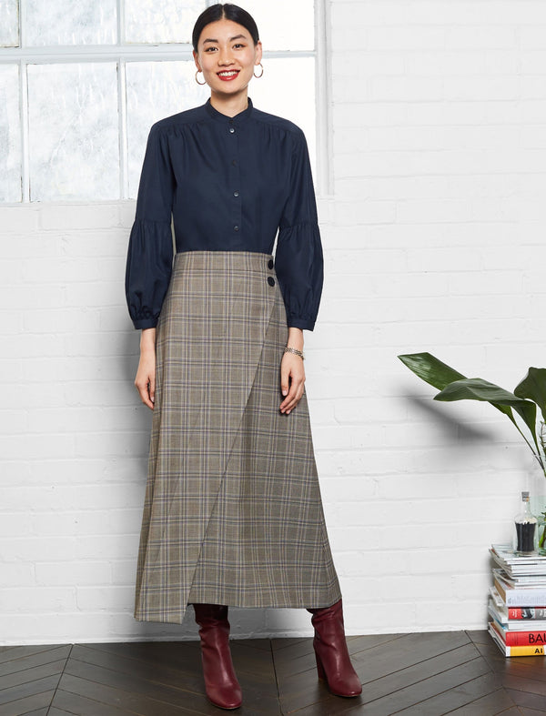 Layla High Waist Wrap Detail Maxi Skirt -Brown Prince of Wales Check