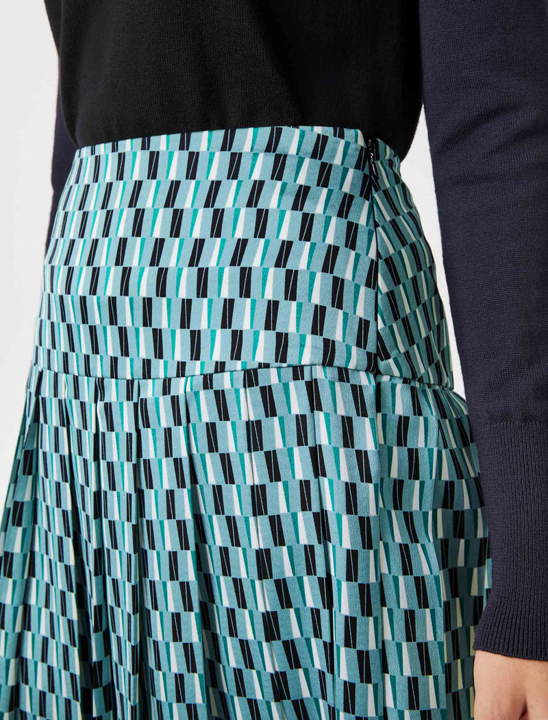 Sienna Pleated Midi Skirt - Mint Geo Print