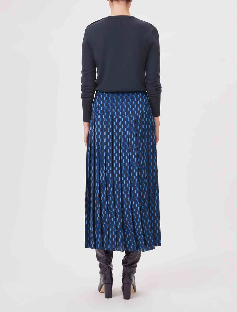 Sienna Pleated Midi Skirt - Navy Geo Print
