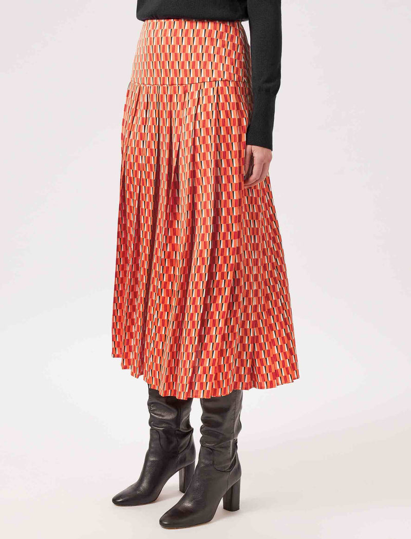pleated geo print midi skirt
