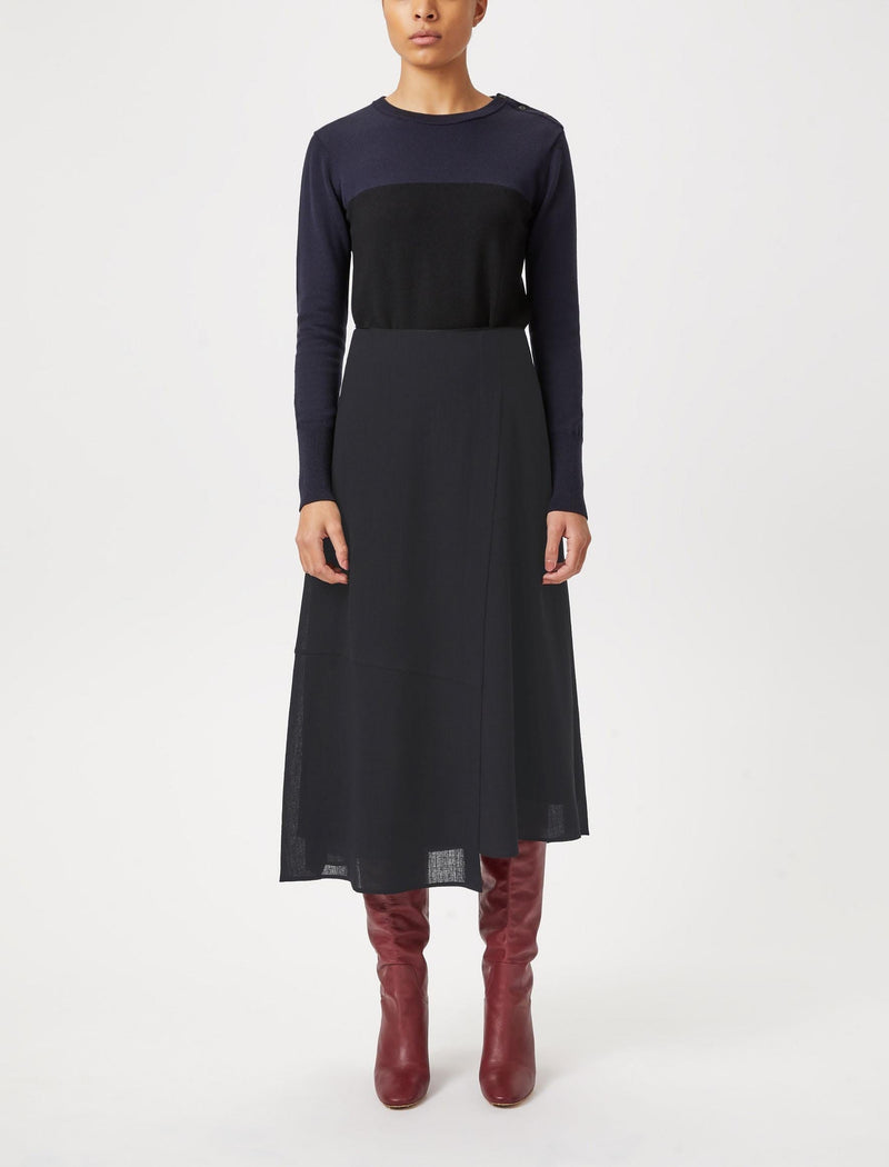 Alix Panelled Asymmetric Maxi Skirt - Navy