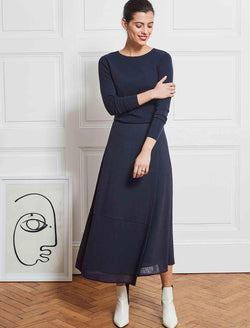 asymmetric Navy Maxi Skirt