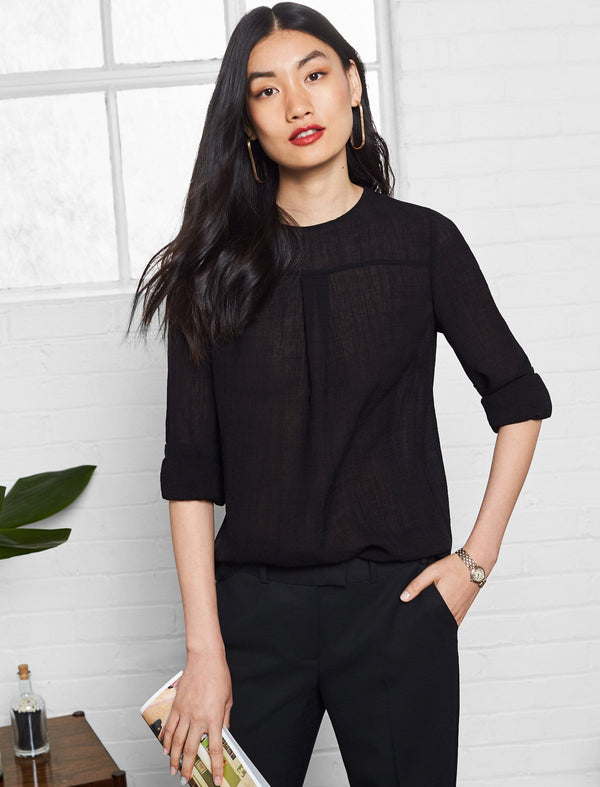 Orla Long Sleeve Yoke Front Blouse - Black