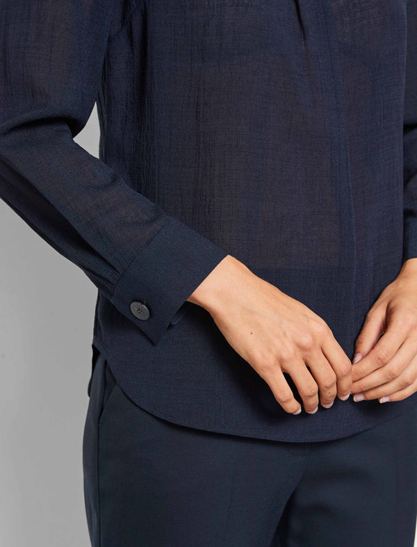 Orla Long Sleeve Yoke Front Blouse - Navy