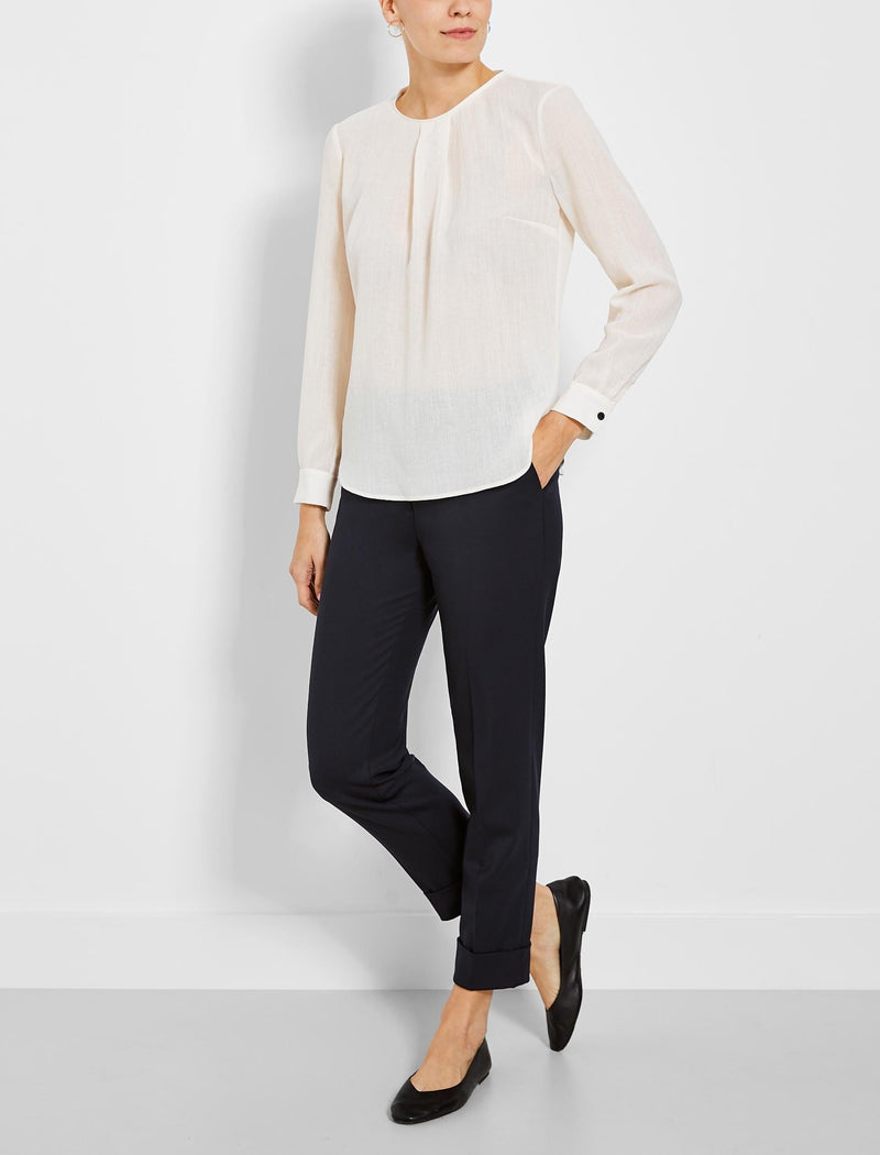 Brooke Long Sleeve Round Neck Blouse - Cream