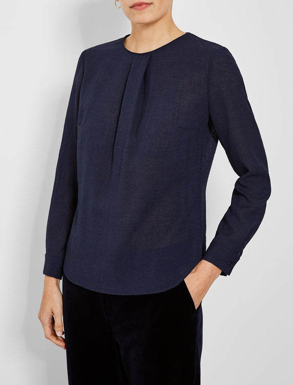 Brooke Long Sleeve Round Neck Blouse - Navy