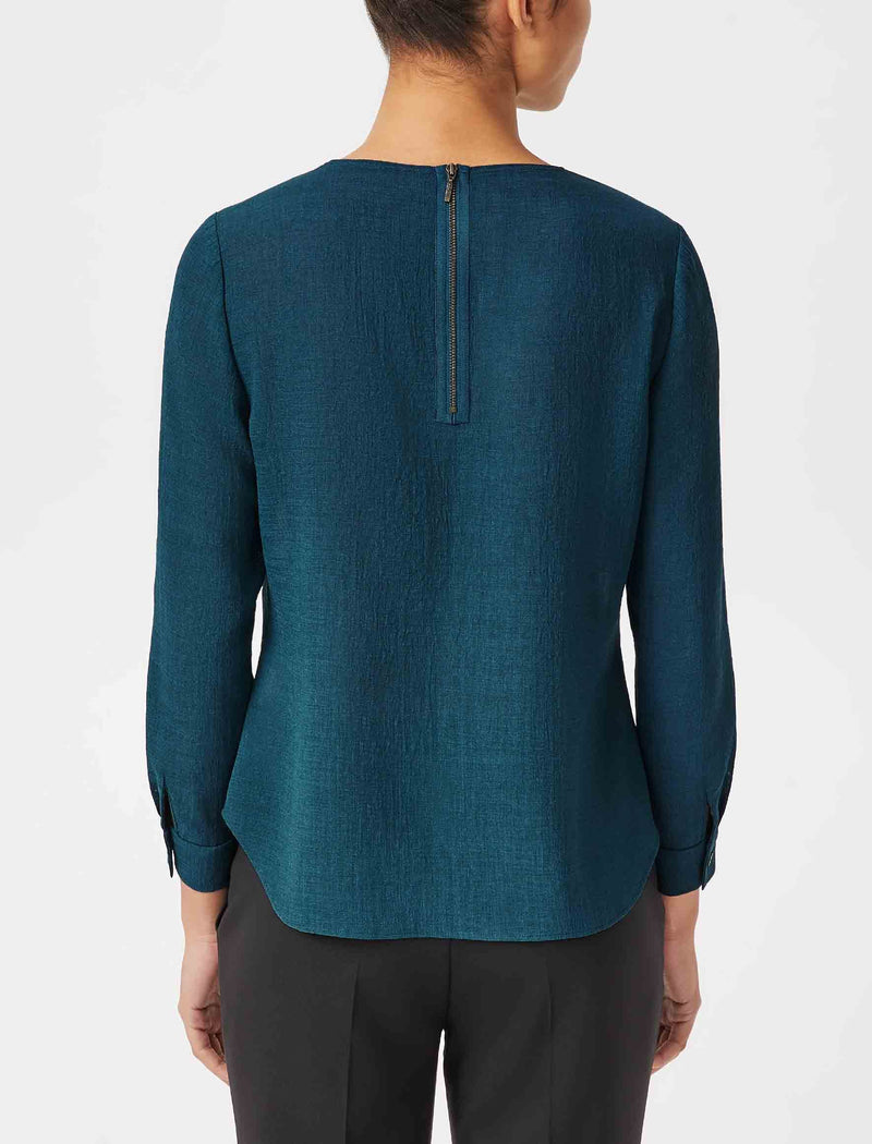Brooke Long Sleeve Round Neck Blouse - Petrol Blue