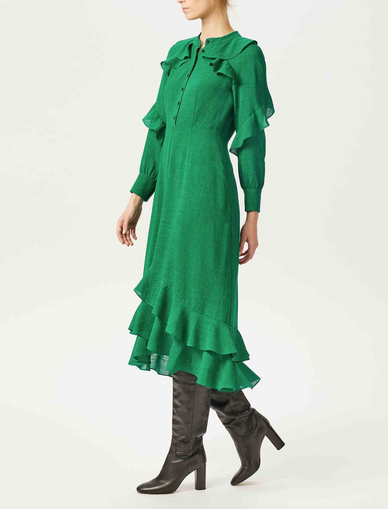 emerald green ruffle sleeve midi dress