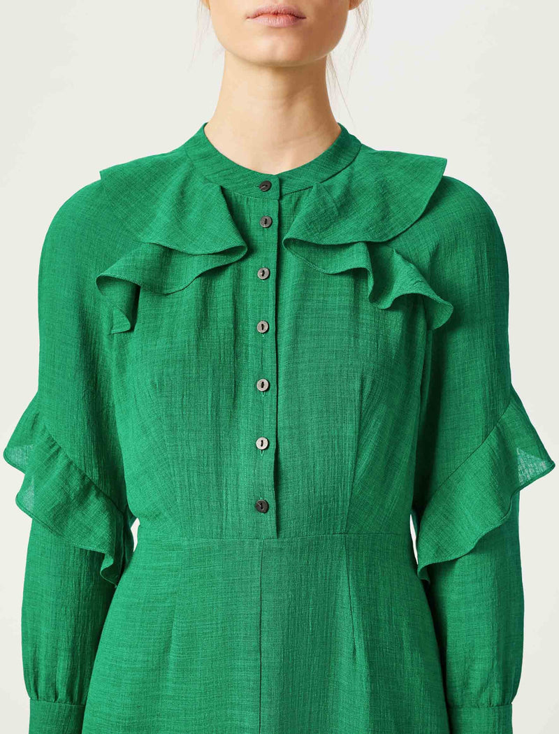 emerald green midi dress