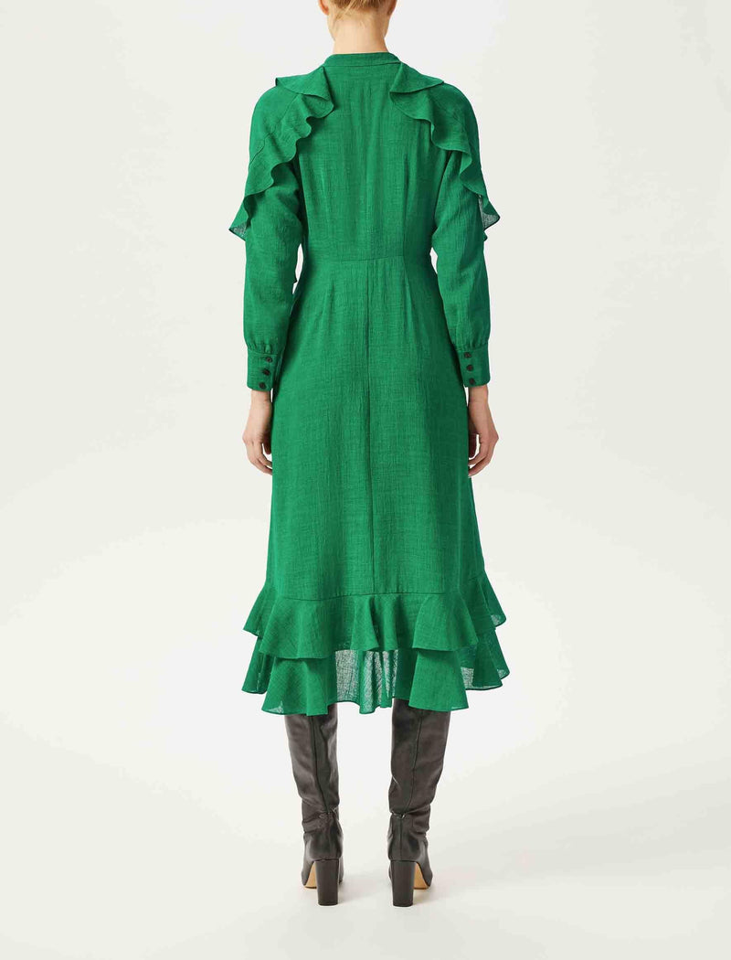 dress emerald green midi long sleeve
