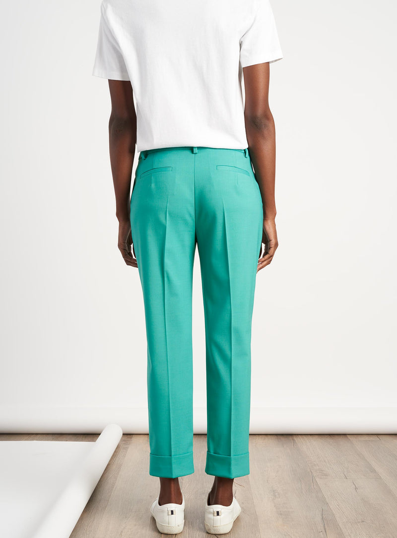 Clement Tailored Turn Up Stretch Wool Blend Trousers - Mint Green