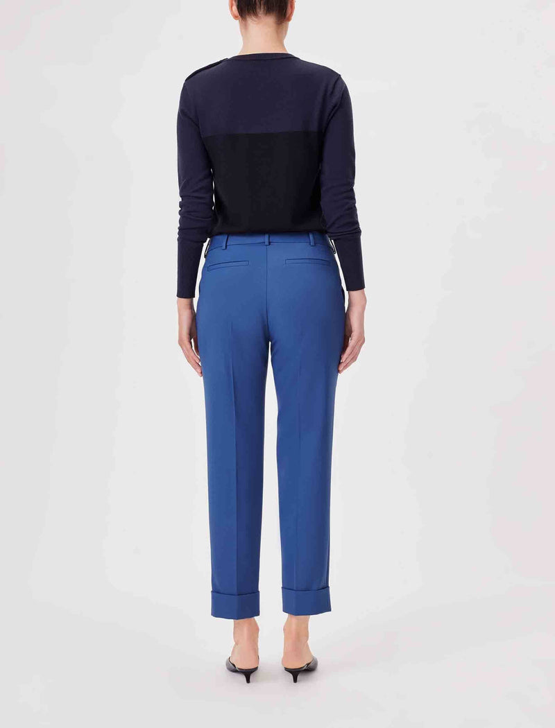 Clement Tailored Turn Up Wool Blend Trousers - Cornflower Blue