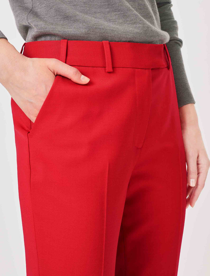 Crimson Clement Tailored Turn Up Wool Blend Trousers