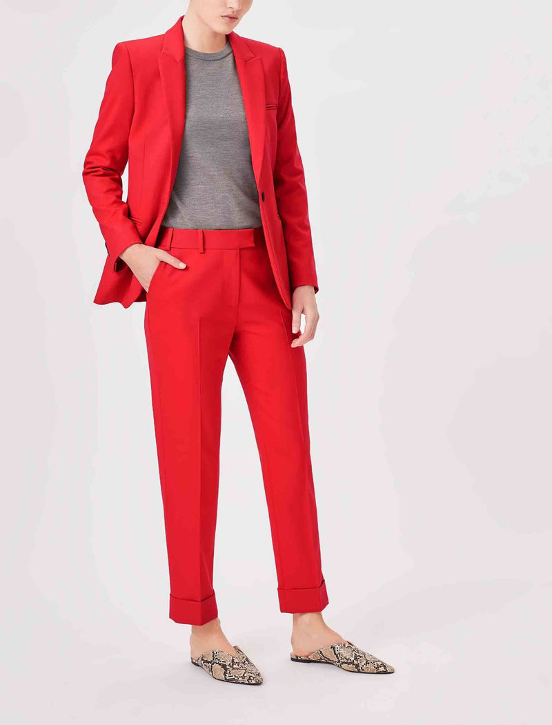 crimson red trousers