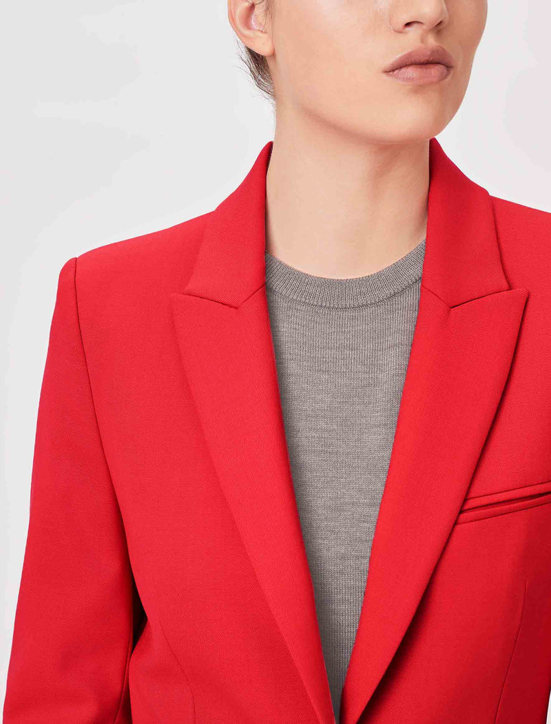 wool blend blazer for women in red