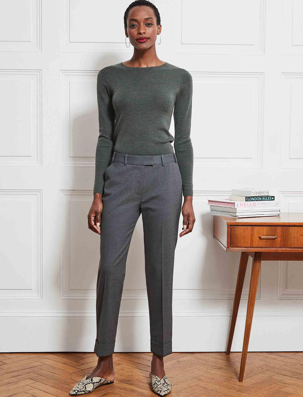 Grey Wool Blend Trousers
