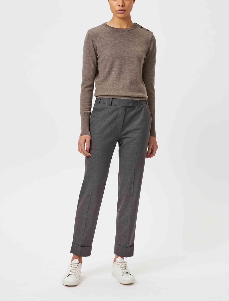 Grey Wool Blend Trousers for women