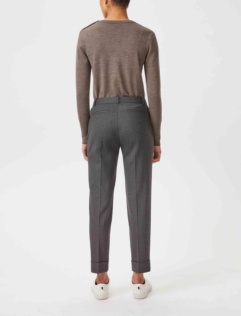 Clement Tailored Turn Up Wool Blend Trousers - Grey