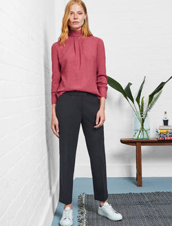 Tatum Stretch Wool Blend Trouser with Piping - Black
