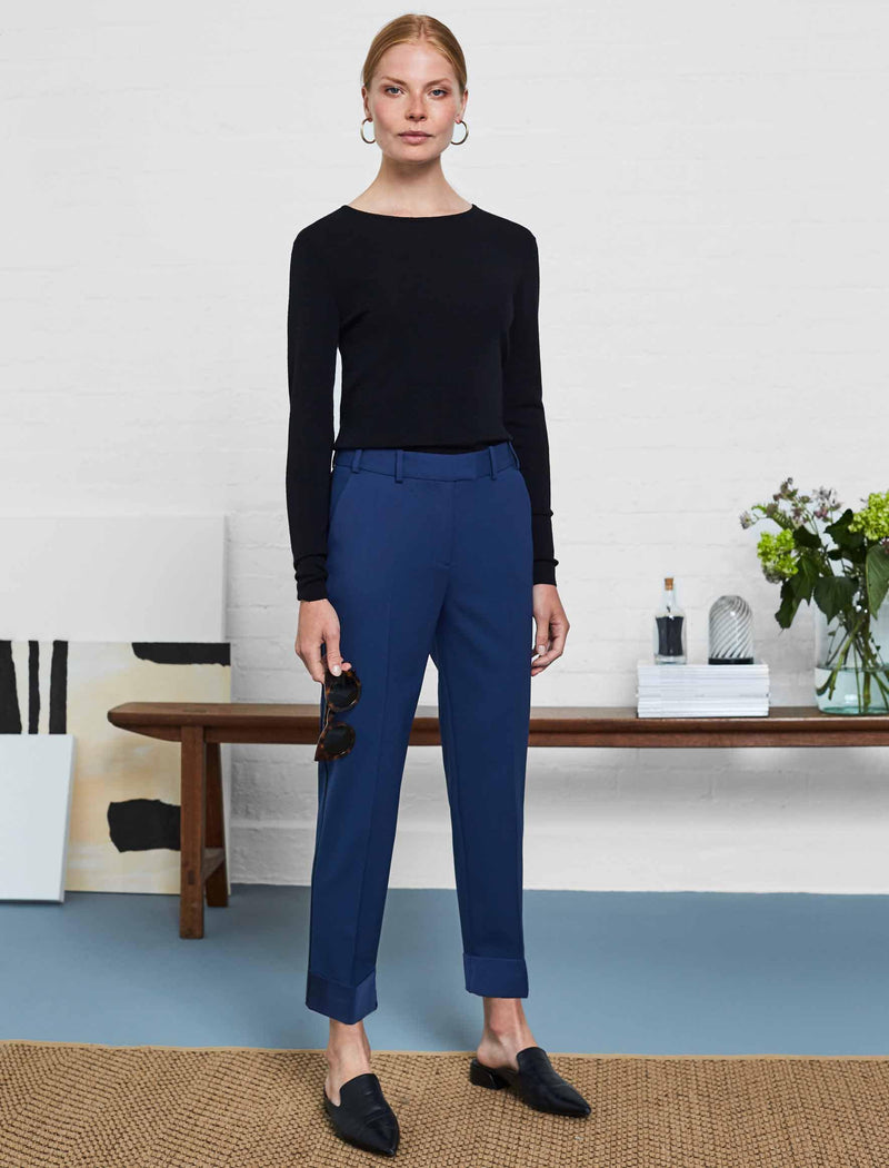 Clement Tailored Turn Up Wool Blend Trousers - Cobalt