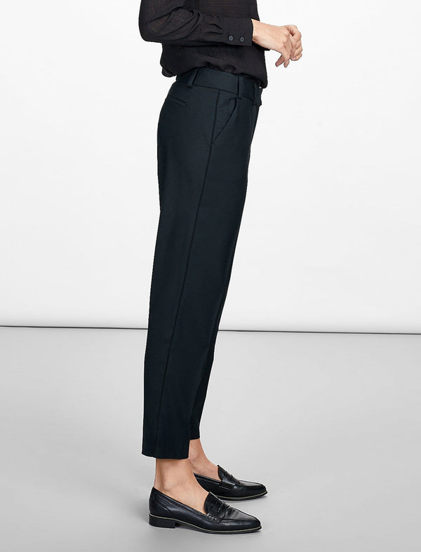 Tatum Stretch Wool Blend Trouser with Piping - Navy