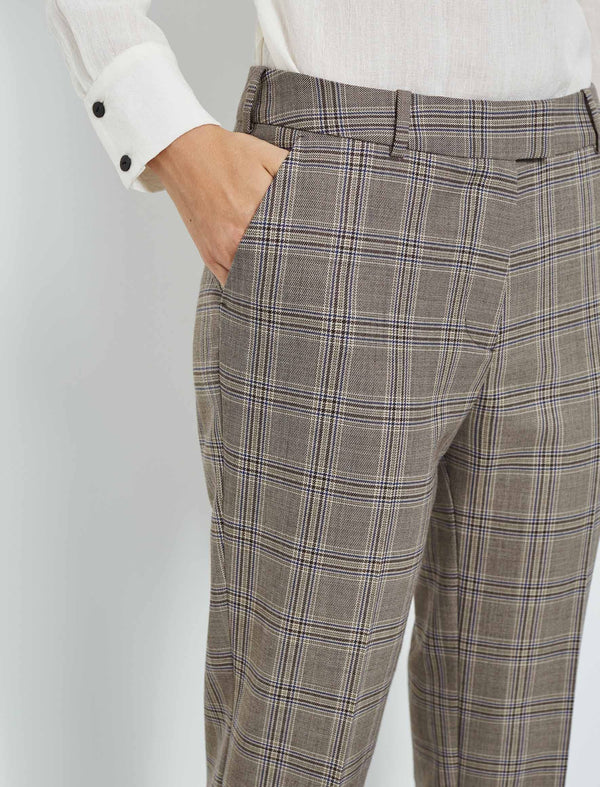Tatum Split Hem Wool Blend Trousers - Brown Prince of Wales Check