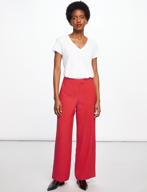 Courtney Wide Leg Trouser With Contrast Piping - Crimson